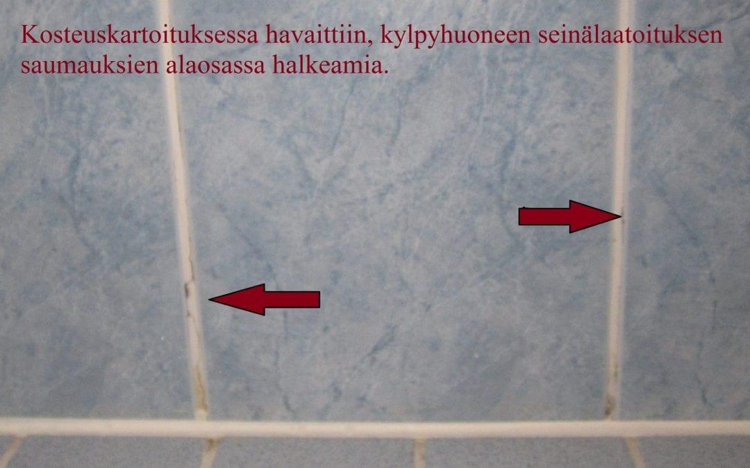 Vesi, kosteusvaurio kylpyhuoneessa, kopo laatoitus