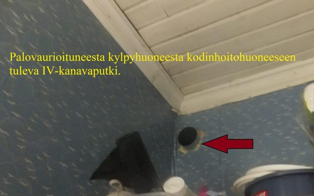 Palo, sähkölaitteen oikosulku kylpyhuoneessa, Irtaimisto