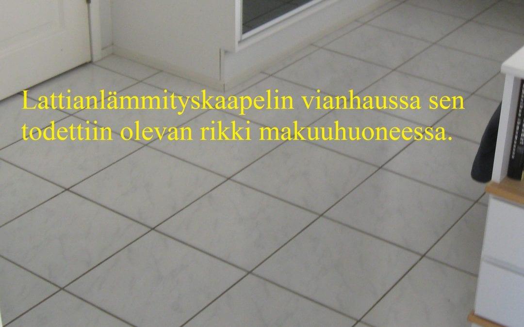 Sähkö, lattialämmityskaapeli rikko
