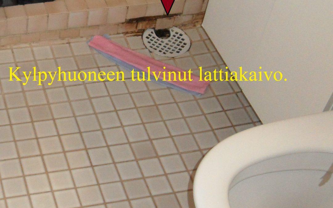 Vaurio asunnon kylpyhuoneen lattiakaivo padotti siinä olleen tukoksen vuoksi