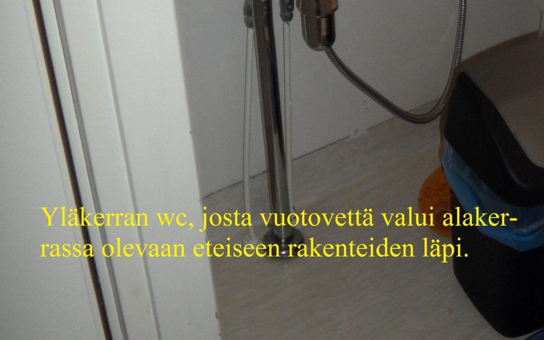 Vesi, liiketilan yläkerran wc:n putkivuoto