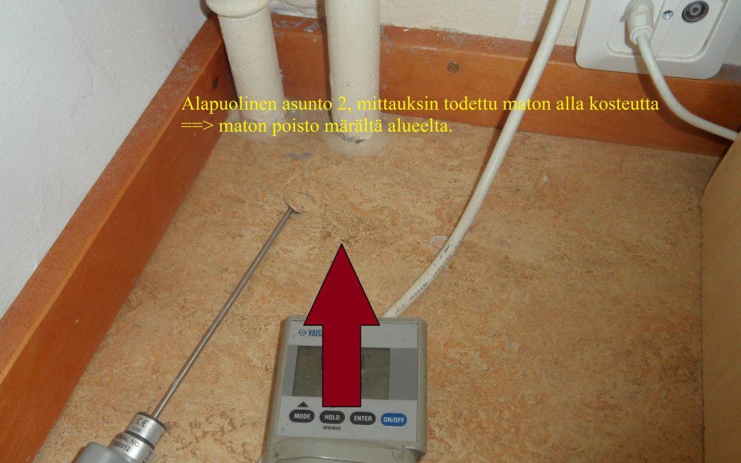 Vesi, kosteusvaurio alapuolisissa asunnoissa