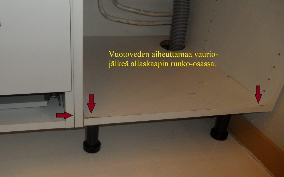 Vesi, kosteusvaurio keittiössä, kosteusmittaus